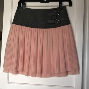 Ted Baker Pink Pleated Mini Skirt w/ Buckle
